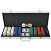 VIDAXL poker s 500 žetoni aluminij, set