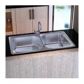 VIDAXL dupli kuhinjski sudoper od nehrdajuceg celika 83 x 48 x 22 cm