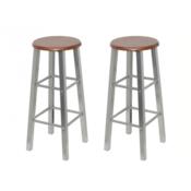 VIDAXL barska stola iz lesa in kovin (2 kosa)