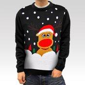 Muški božicni pulover s jelenom Christmas Reindeer crna