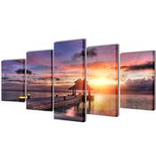 VIDAXL set platen s printom plaže s paviljonom (200x100cm)