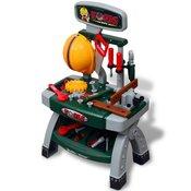 VIDAXL otroška delovna miza z orodjem, zelena-siva