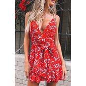 Ženska mini obleka z rožami NIAME, rdeča