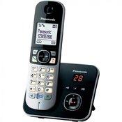 Panasonic Brezžični analogni telefon Panasonic KX-TG6821 avtomatski odzivnik, slušalka za prostoročno telefoniranje, črne, srebrne barve