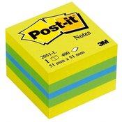 Post-it Post-it Ljepljiva bilješka o kocki 2051-L 51 mm x 40 mm Plava boja, Zeleni limun, Limun-žuta 400 Stranica