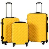 vidaXL 3-dijelni set cvrstih kovcega žuti ABS