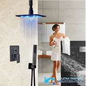 LED podometni tuš panel črne barve | tuš panel EYN PT50089 (Glava: 20 cm)