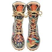 Podloženi visoki škornji s potiskom CHINESE DRAGON ženske - DOGO
