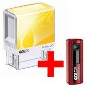 Štampiljka Colop Printer 20, belo-rumeno ohišje-vaš odtis v ceni (38x14mm) + žepna štampiljka 20