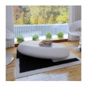 VIDAXL klubska mizica steklenih vlaken bela