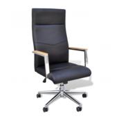 VIDAXL pisarniški stol iz umetnega usnja (nastavljivo naslonjalo), črn