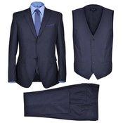 vidaXL Muško trodijelno poslovno odijelo velicina 56 crno mornarsko plavo