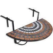 VIDAXL viseča balkonska miza Mozaik, rdeče-bela