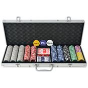 VIDAXL poker set s 500 laserskimi žetoni, aluminij