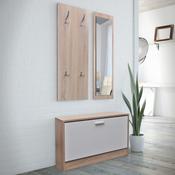 VIDAXL lesen set omarica za čevlje hrast in bela 3-v-1
