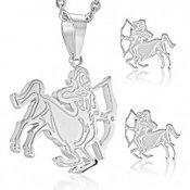 Čelični set srebrne boje, naušnice i privjesak, znak zodijaka STRIJELAC