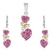 Srebrni set - naušnice i privjesak, ružičasta srca, keltski čvor