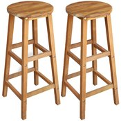 VIDAXL barski stol iz trdnega akacijevega lesa (34x34x76cm), 2 kosa
