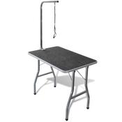 VIDAXL prenosna miza za nego psov s kolesci, črna