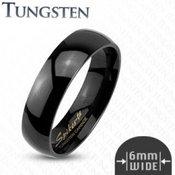 Glatki crni prsten od volframa, 6 mm