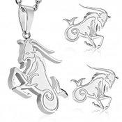 Set od nehrđajućeg čelika srebrne boje, privjesak i naušnice, znak zodijaka JARAC