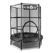 KLARFIT ROCKETKID, Crni, 140 cm, trampolin, sigurnosna mreža, bungee opruge
