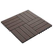 vidaXL Talne plošče 11 kosov globok relief WPC 30x30 cm 1 m2 rjava