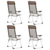Sklopive stolice za kampiranje 4 kom smeđe aluminijske