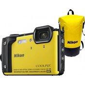 Nikon digitalni fotoaparat COOLPIX W300, podvodni, rumen + vodotesni nahrbtnik