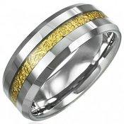 Prsten od volframa sa uzorkom pruge zlatne boje, 8 mm