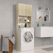 vidaXL omara za pralni stroj sonoma hrast 64x25,5x190 cm iverna plošča