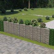 vidaXL Gabionski zid od pocincanog celika 450 x 30 x 100 cm