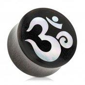 Sedlasti cepic za uho izraden od drveta crne boje, duhovni Yoga simbol OM - Širina: 16 mm