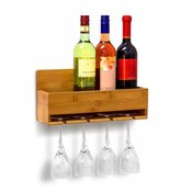 Stenska polica za vina in kozarce
