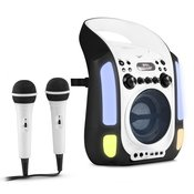 auna Kara Illumina , črn Karaoke sistem, CD, USB, MP3, Led svetlobna šov, 2 x Mikrofon, prenosni