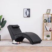 vidaXL Masažni počivalnik z blazino črno umetno usnje