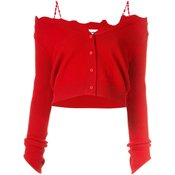 Shushu/Tong - distressed cropped cardigan - women - Red