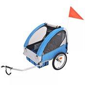 vidaXL Djecja Prikolica za Bicikl Sivo Plava 30 kg