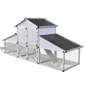 VIDAXL aluminijski kokošinjac s vanjskim kavezom i zasebnim odjeljkom za jaja