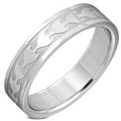 Prsten od nehrdajuceg celika srebrne boje - sjajni urezani plamen, 6 mm