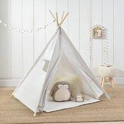 [en.casa]® Otroški šotor - Indijanski igralni šotor, skrivališče za otroke - 150 x 120 x 120 cm, bel