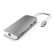Hama USB 3.1 Type-C 7in1 adapter (USB3.1,HDMI,LAN, SD, micro SD, Type-C), srebrni