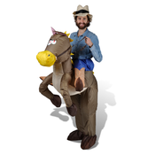 VIDAXL napihljiv kostum kavboja in konja