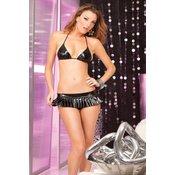 PINK LIPSTICK crni sjajni bikini set sa suknjicom, PINKLIP007