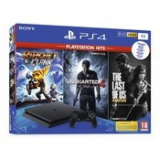 Sony Playstation 4 Slim Konsole PS4 Slim 1TB + Uncharted 4 + The Last of Us Remastered + Ratchet & C
