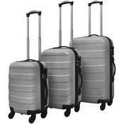 VIDAXL komplet trdih potovalnih kovčkov (tri delni), srebrn