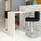 VIDAXL visoko sijajna barska miza z dvema nogama, bela