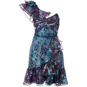 Marchesa Notte - floral print mini dress - women - Blue
