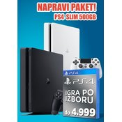 Konzola Playstation 4 Black 500GB Slim + Igra do 4.999