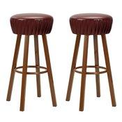 vidaXL Barski stoli 2 kosa umetno usnje rjave barve